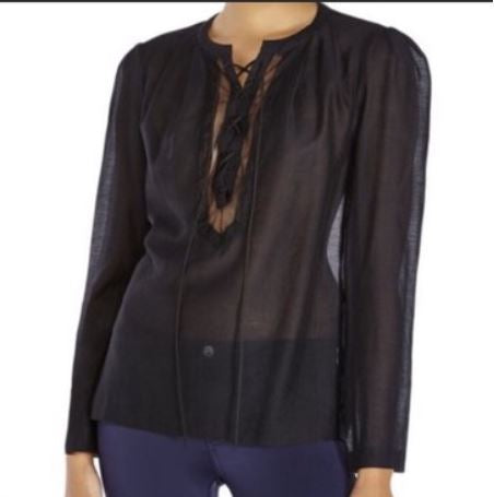 Maje Black Cotton /Silk-blend Voile Blouse