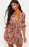 PLT Dark Nude Floral Frill Detail Pleated Skater Dress