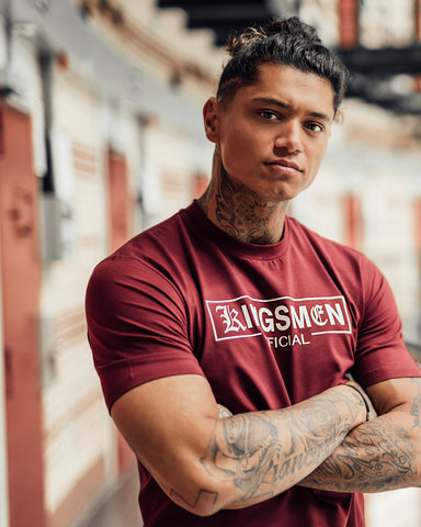 Kingsmen Exclusive 55 T-shirt | White on Bordeaux