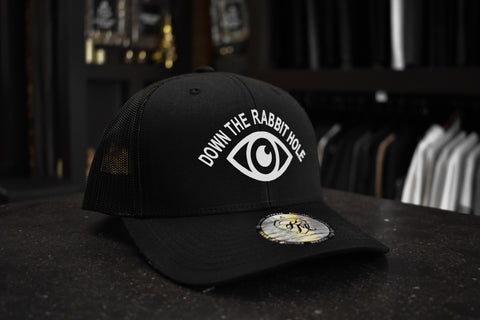 Kingsmen Down The Rabbit Hole | Retro trucker cap - White on Black