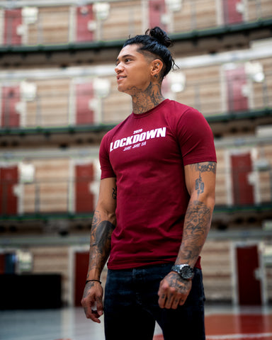 Kingsmen Lockdown 2020 T-shirt |  White on Bordeaux
