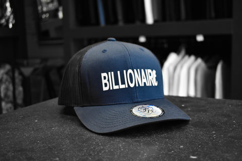 Billionaire | Retro trucker cap - White on Navy