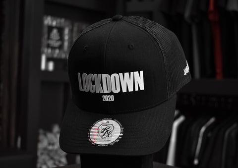 Kingsmen Lockdown | Retro trucker cap - White on Black