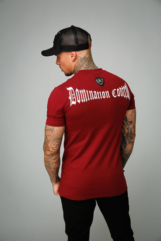 Kingsmen Domination control T-shirt |  White on Bordeaux