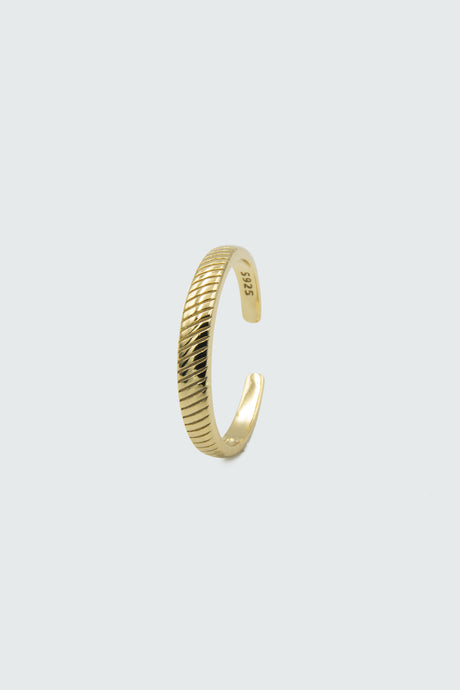 Grooved open band ring