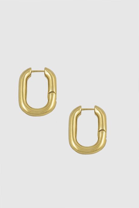 Link hoop earrings, medium