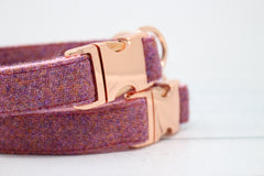 Rose Gold Isla Harris Tweed Dog Collar