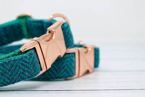 Rose Gold Mungo Harris Tweed Dog Collar