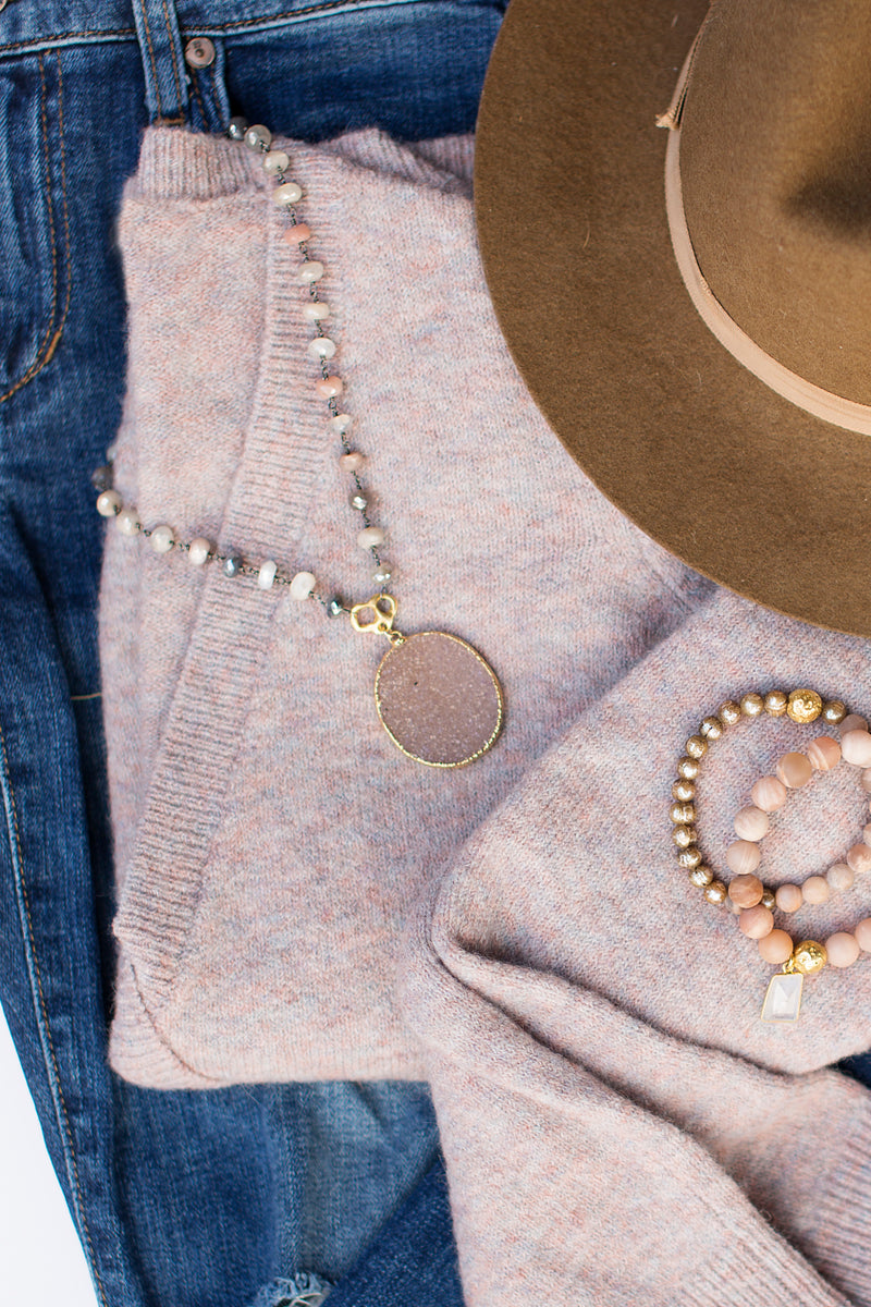 Moonstone and Druzy Necklace