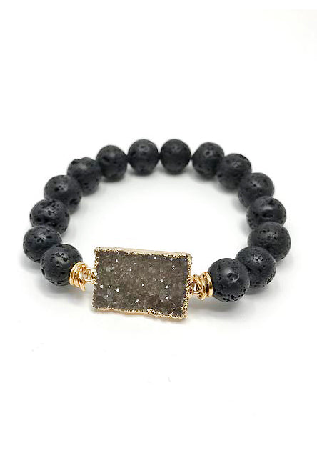 Ananda Bracelet in Black Lava