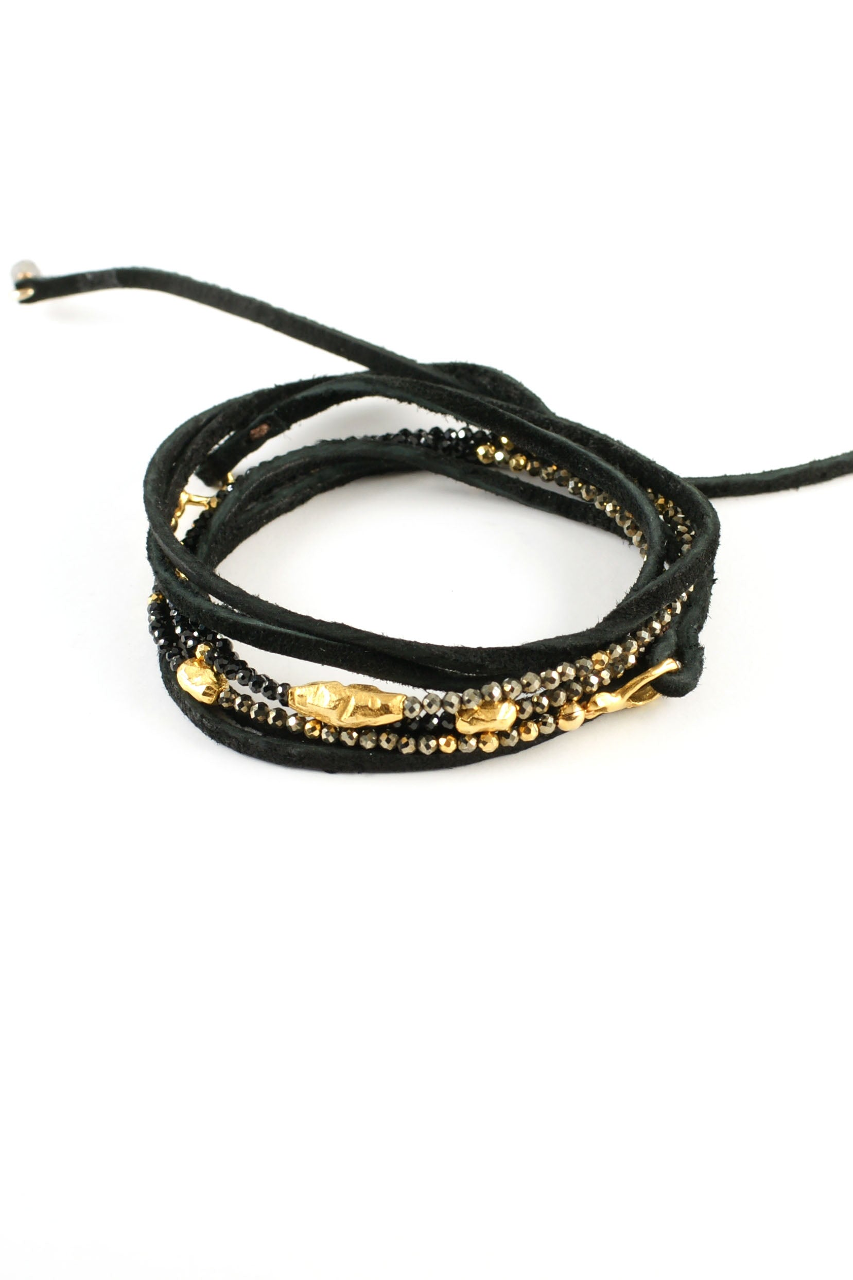 Black Spinel and Pyrite Leather Wrap