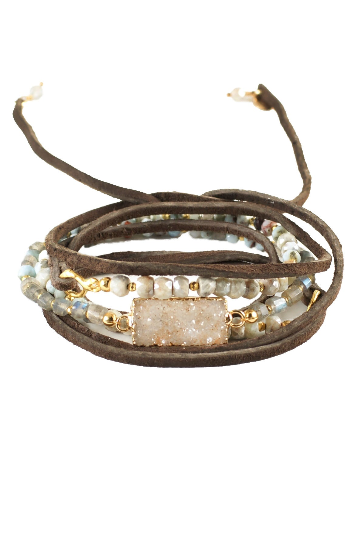 Larimar Silverite Labradorite Leather Wrap