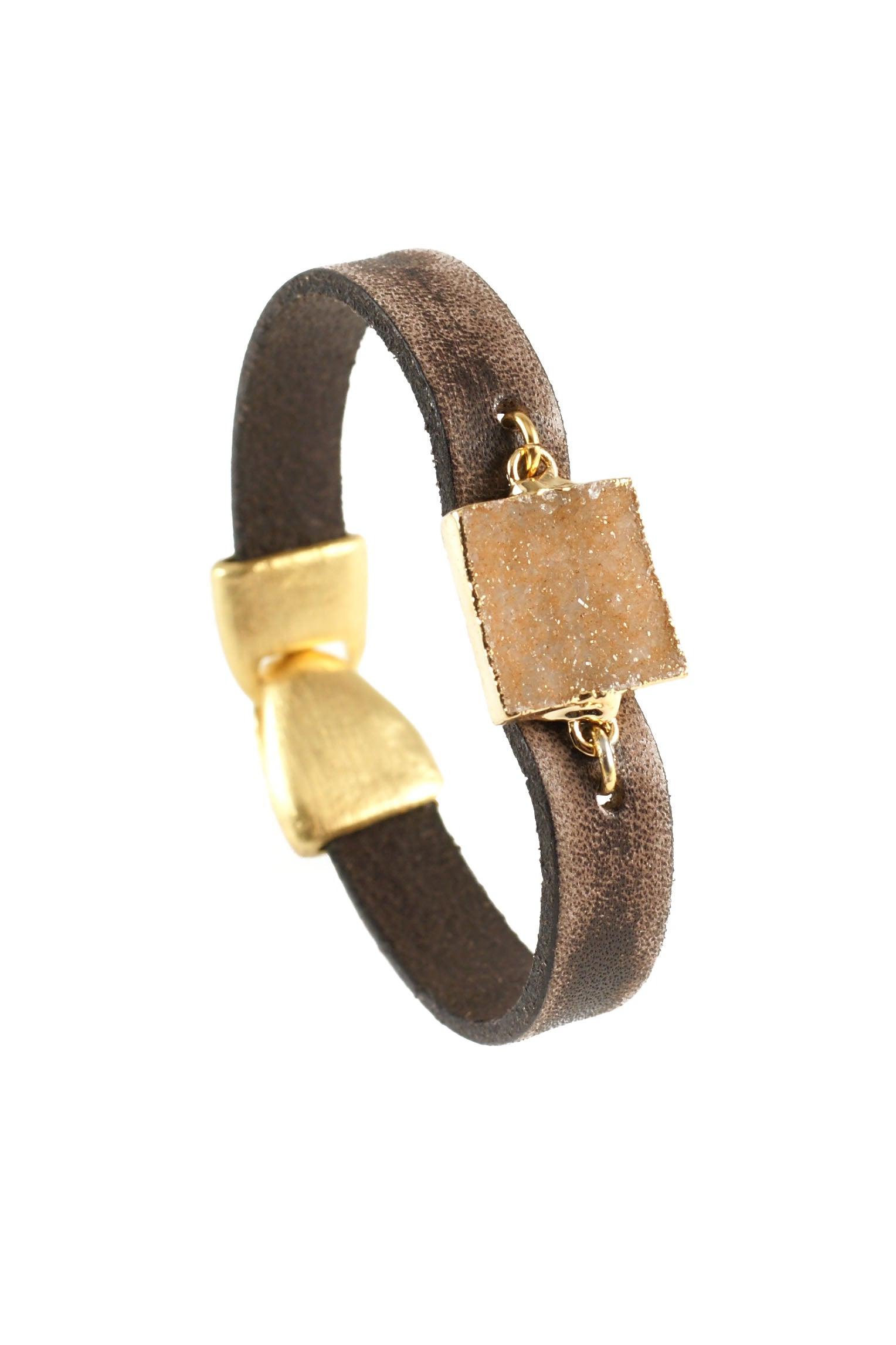 Leather and Square Druzy Bracelet