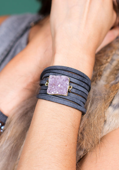 Black Leather Druzy Wrap