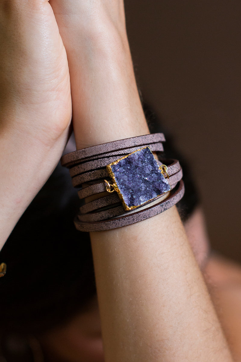 Brown Leather Druzy Wrap
