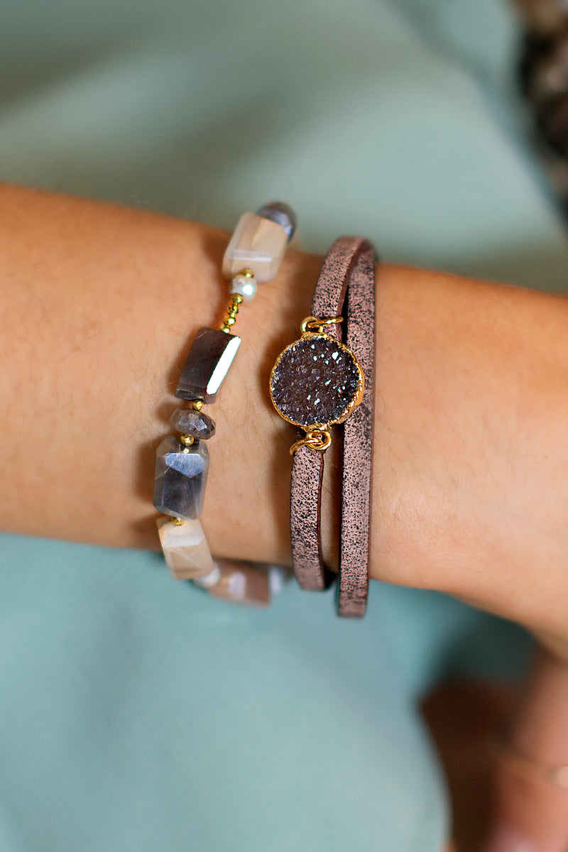 Leather and Druzy Bracelet