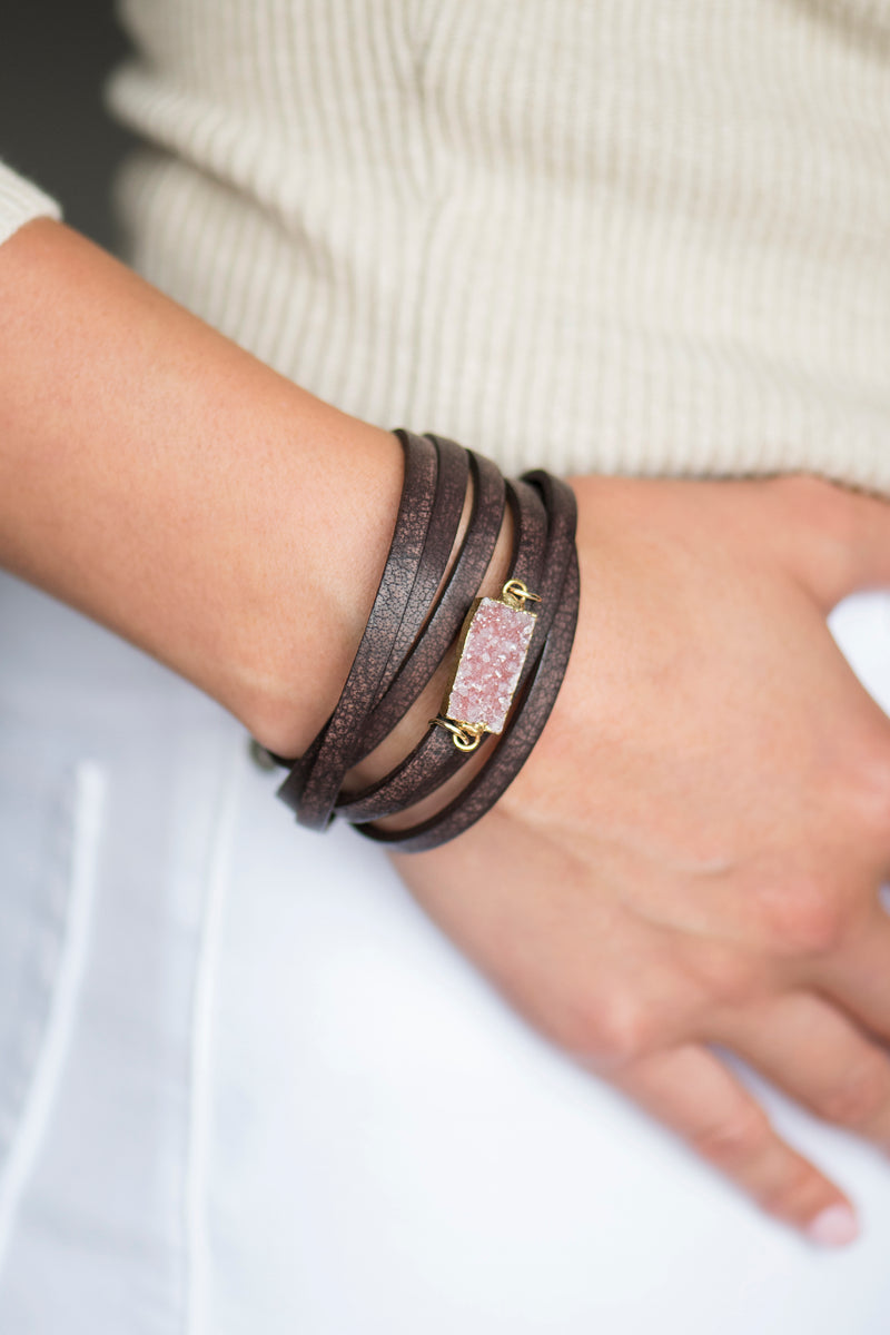 Brown Leather Druzy Wrap Bracelet