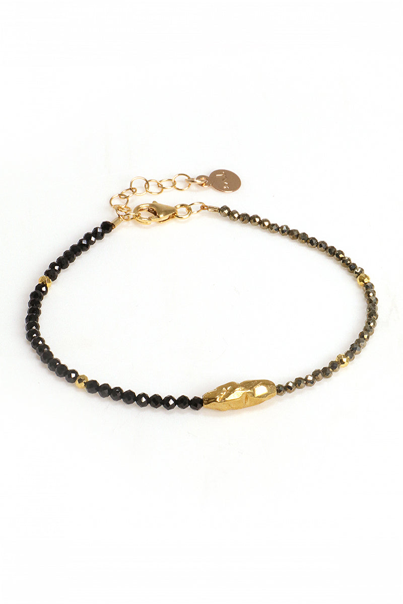 Black Spinel Pyrite Bracelet