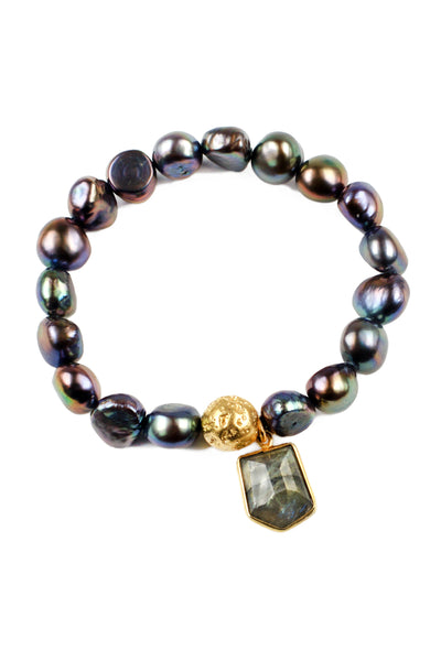 Peacock Pearl and Labradorite Bracelet