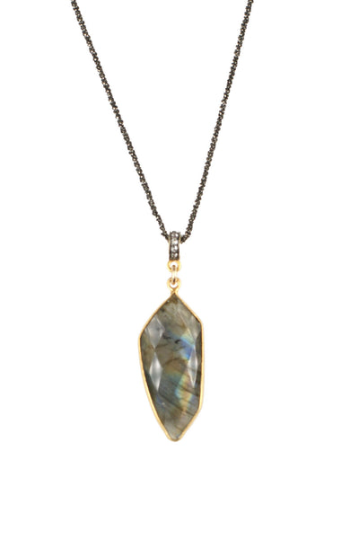 Labradorite Palm Pavé Necklace