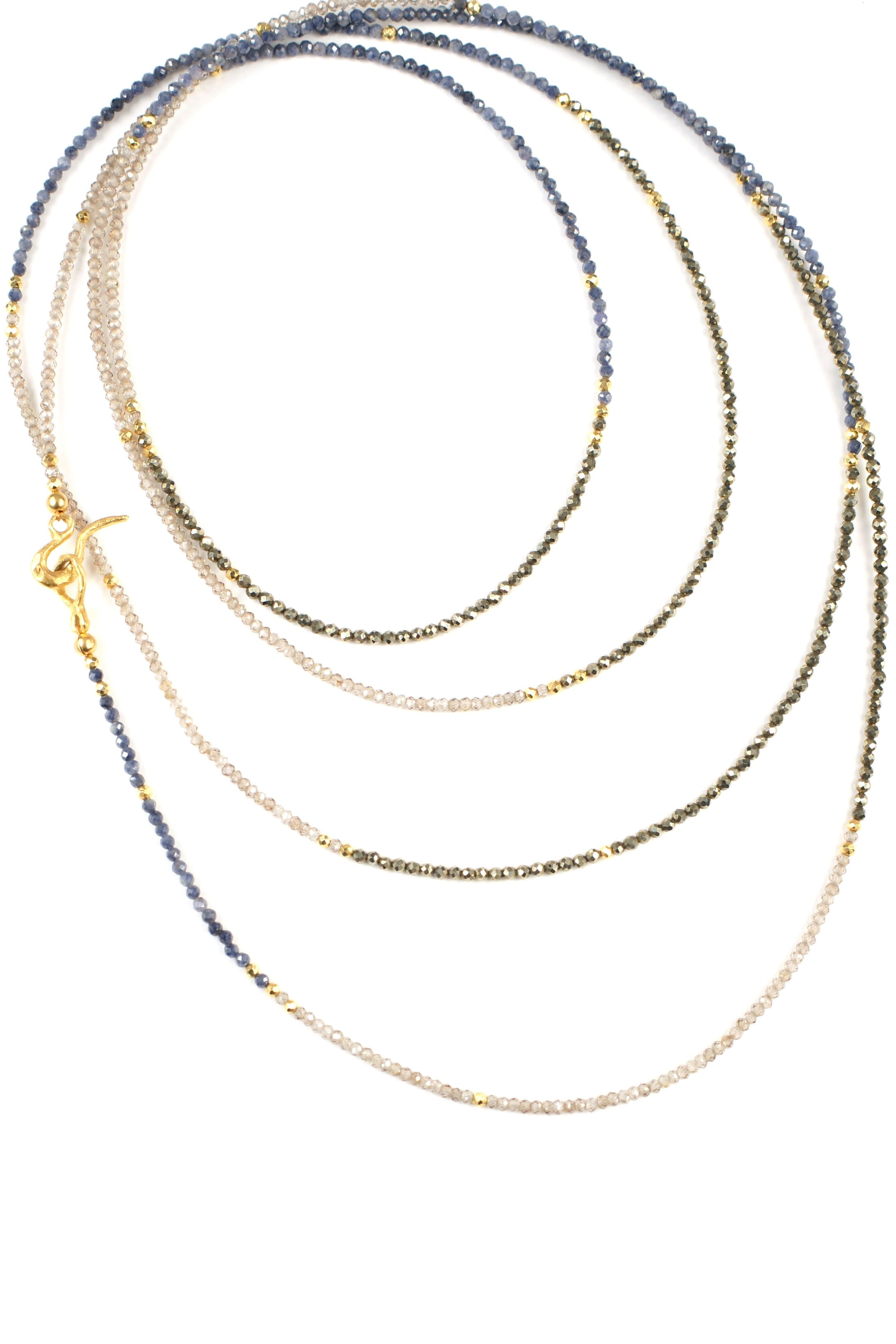 Sapphire Zircon and Pyrite Long Layering Necklace