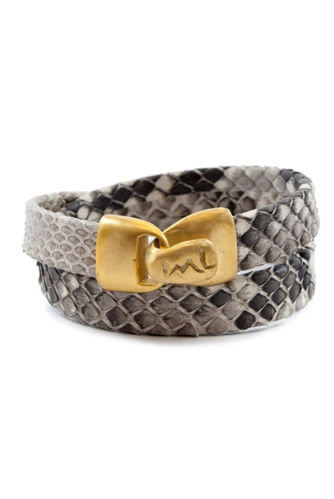 Python Wrap Bracelet in Natural Grey