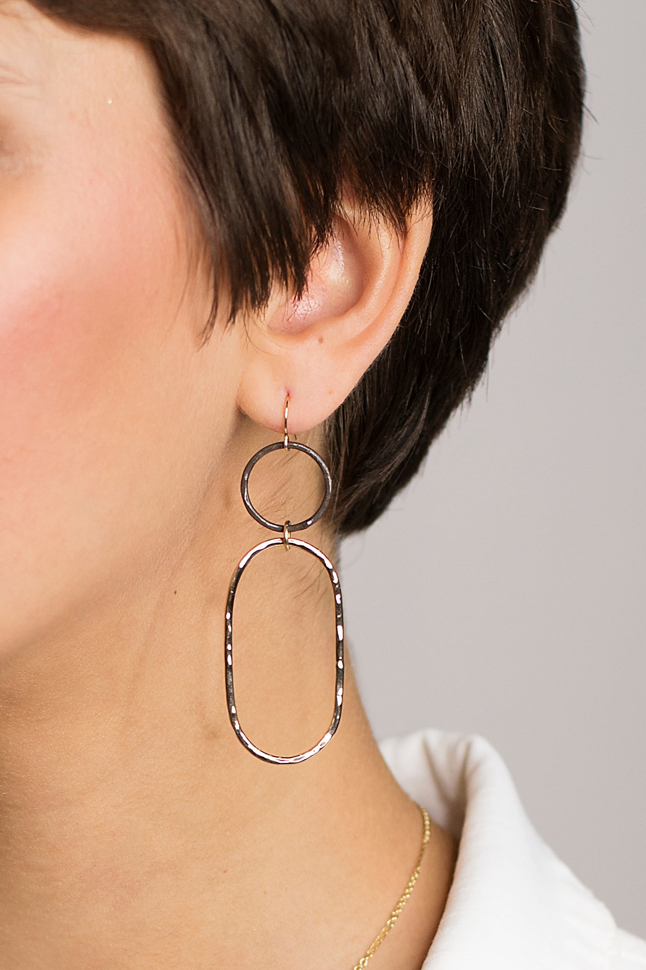Hammered Gold & Blackened Silver Earrings
