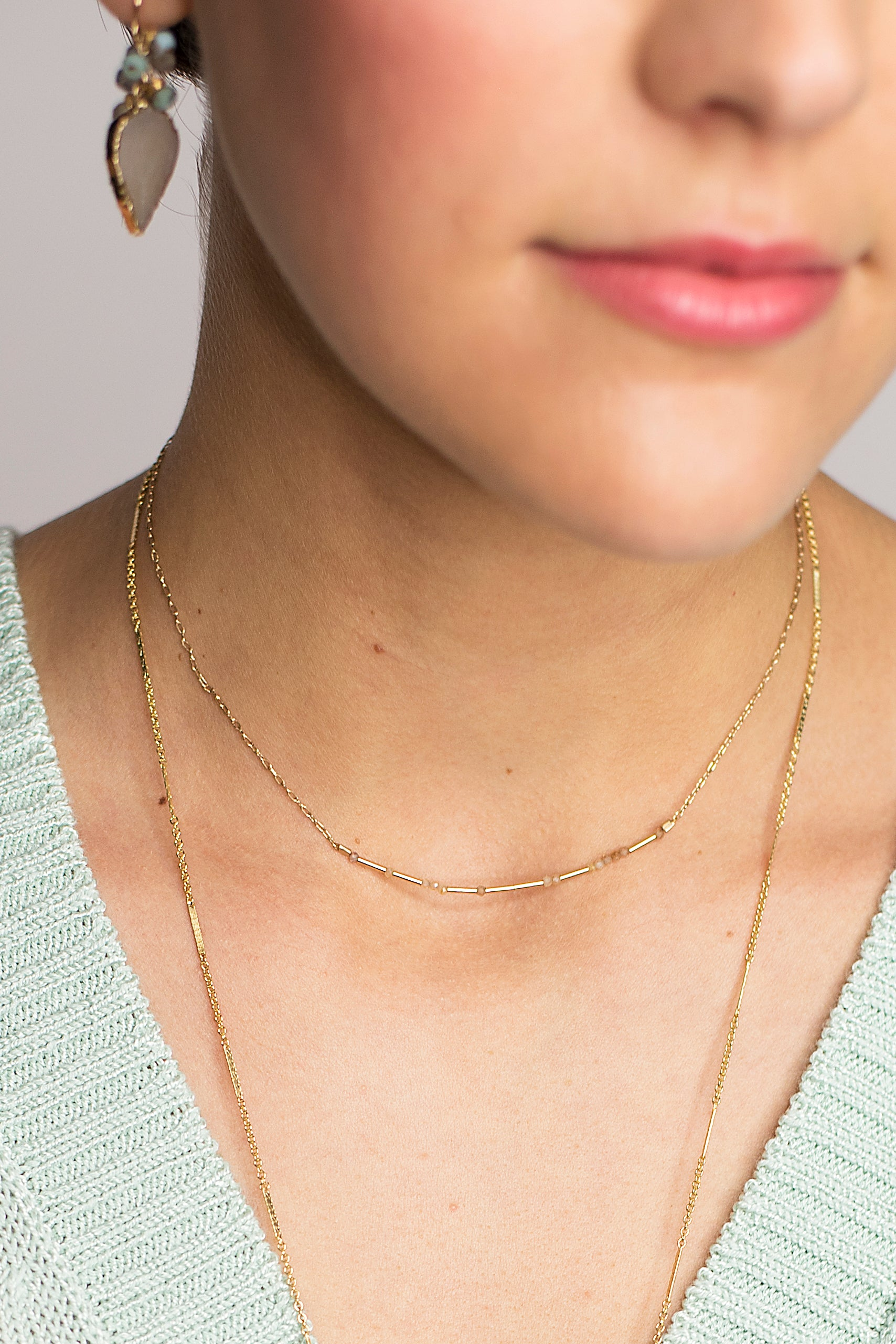 Zircon Liquid Bar Necklace