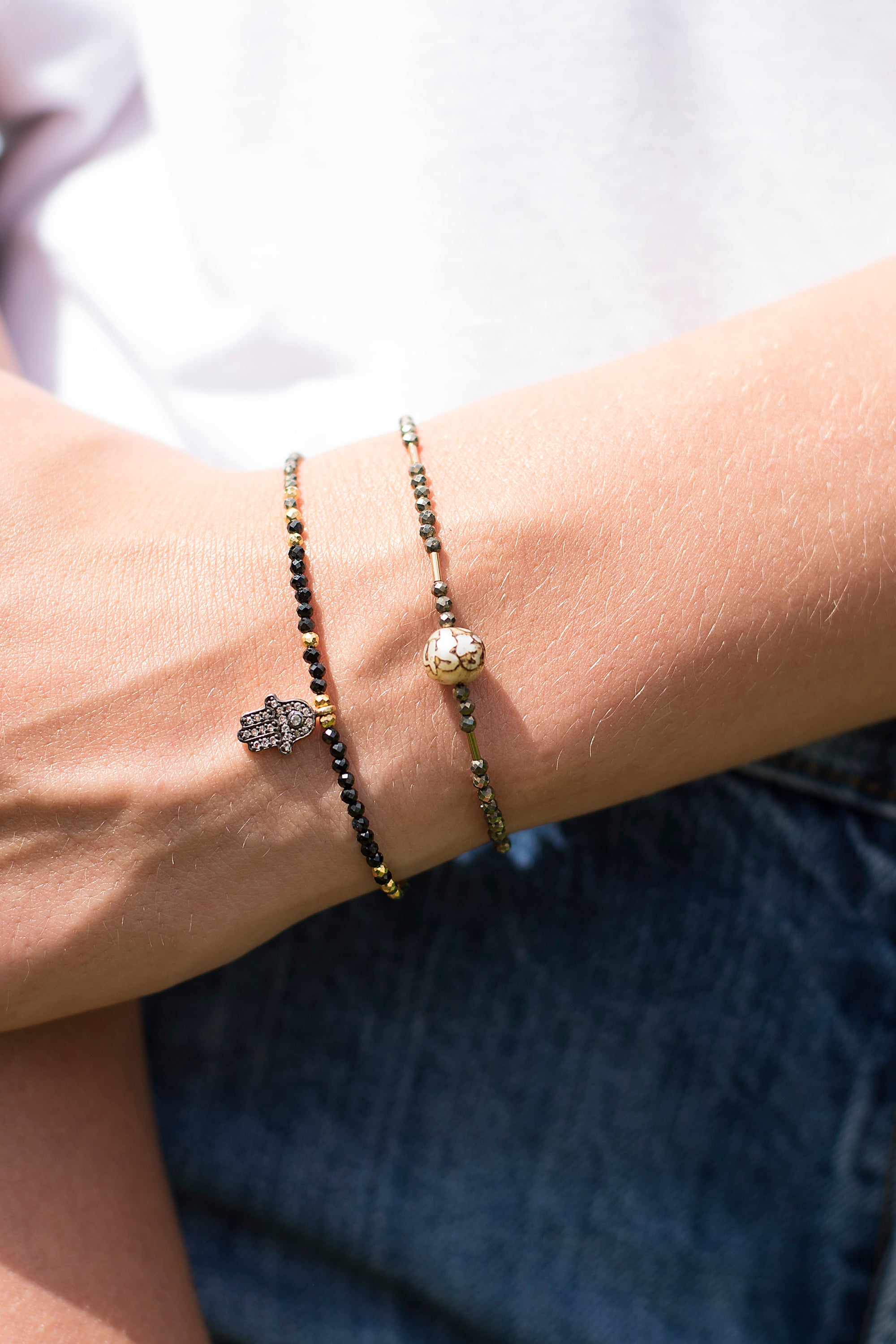 Black Spinel and Pyrite Hamsa Bracelet