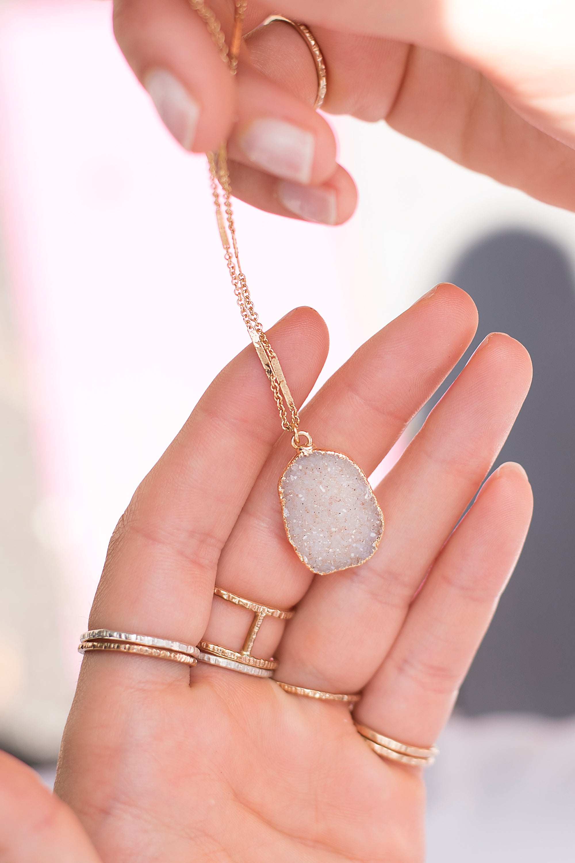 Free Form Druzy Gold Necklace