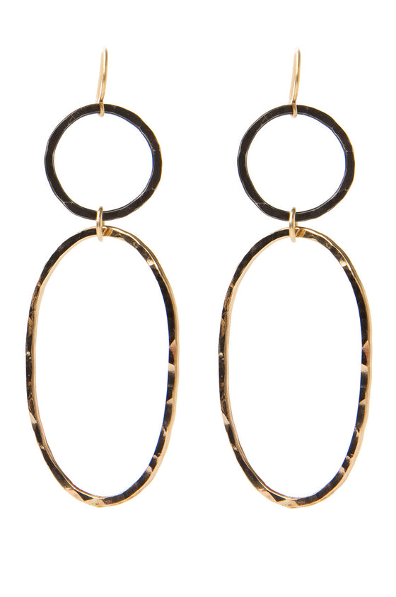 Hammered Gold & Blackened Silver Oval Earrings