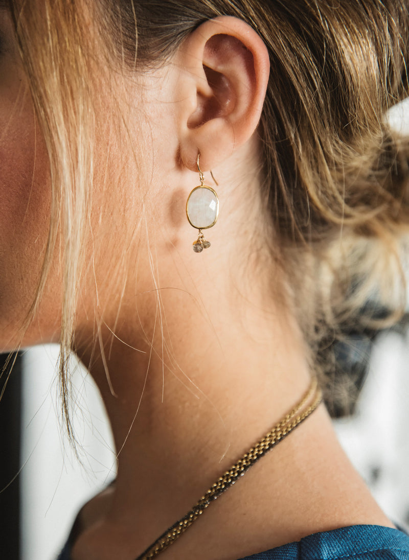 Moonstone cluster earrings
