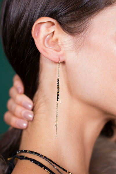 Black Spinel and Pyrite Threader Earrings