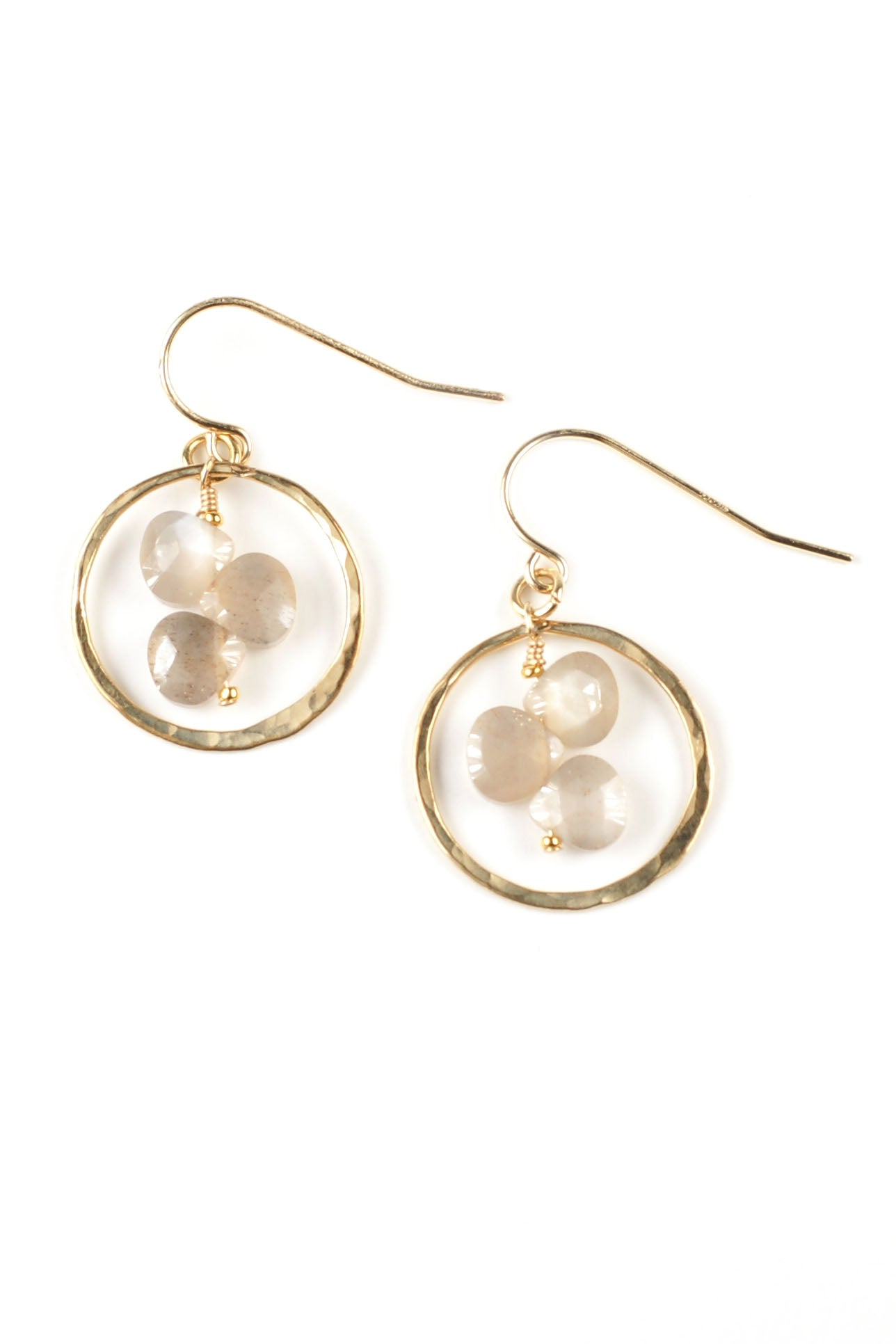 Peach Moonstone Trio Earrings