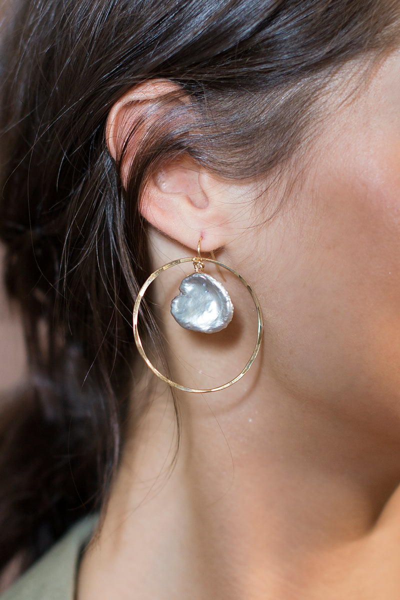Hammered Grey Pearl Hoops