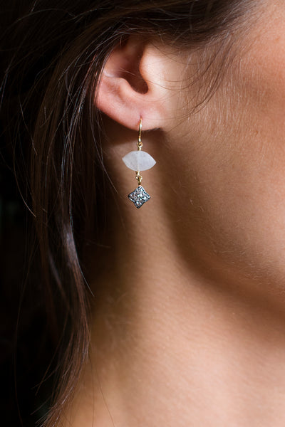 Moonstone Evil Eye Earrings