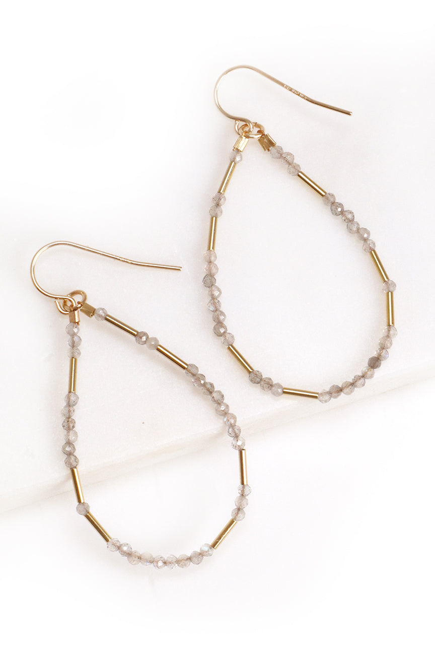 Labradorite Liquid Gold Hoops