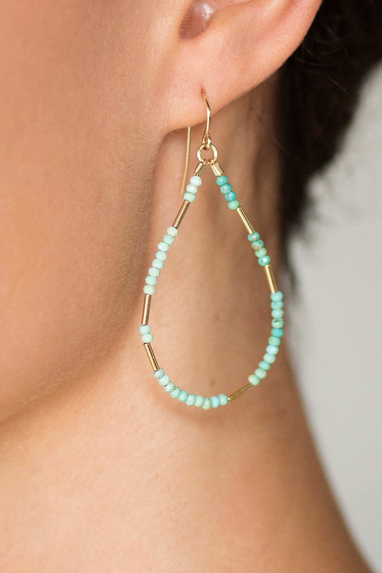 Turquoise Liquid Gold Hoops