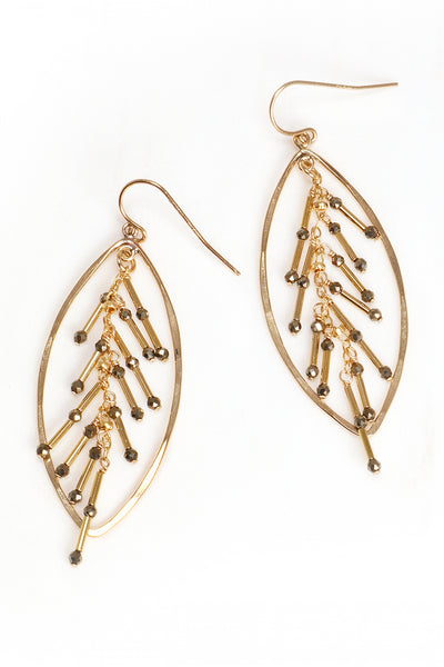 Pyrite Foxtail Statement Earrings
