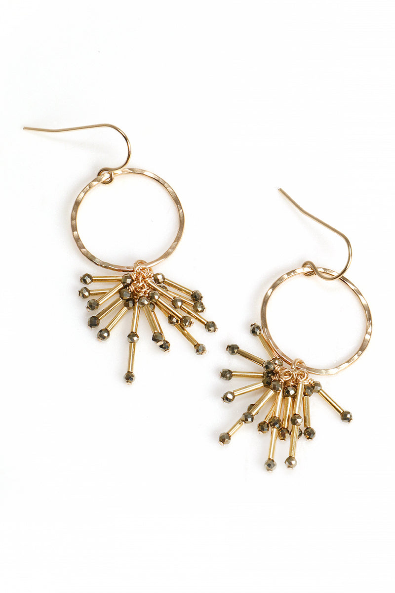 Pyrite Starburst and Gold Earrings