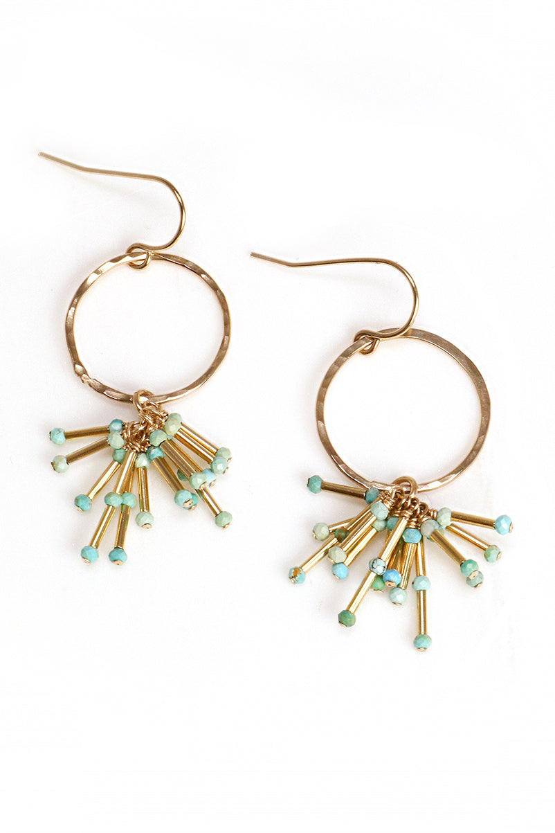 Turquoise Starburst and Gold Earrings