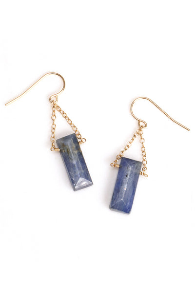 Faceted Kyanite Bar earrings