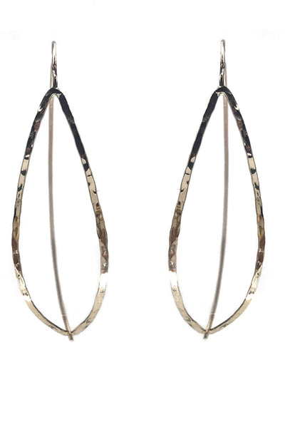 Hammered Marquis Threader Earrings