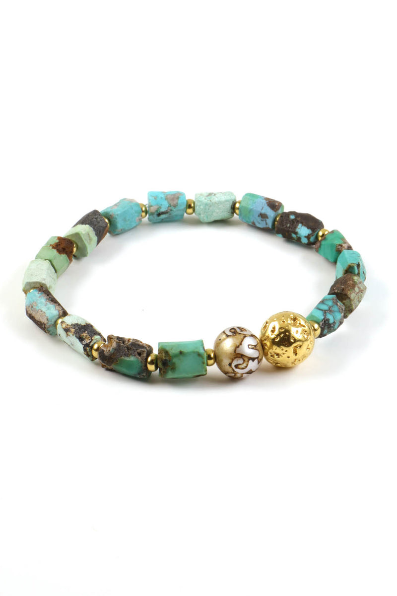 Turquoise Mantra Pearl Bracelet
