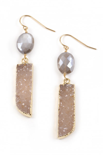 Druzy and Grey Moonstone Earrings