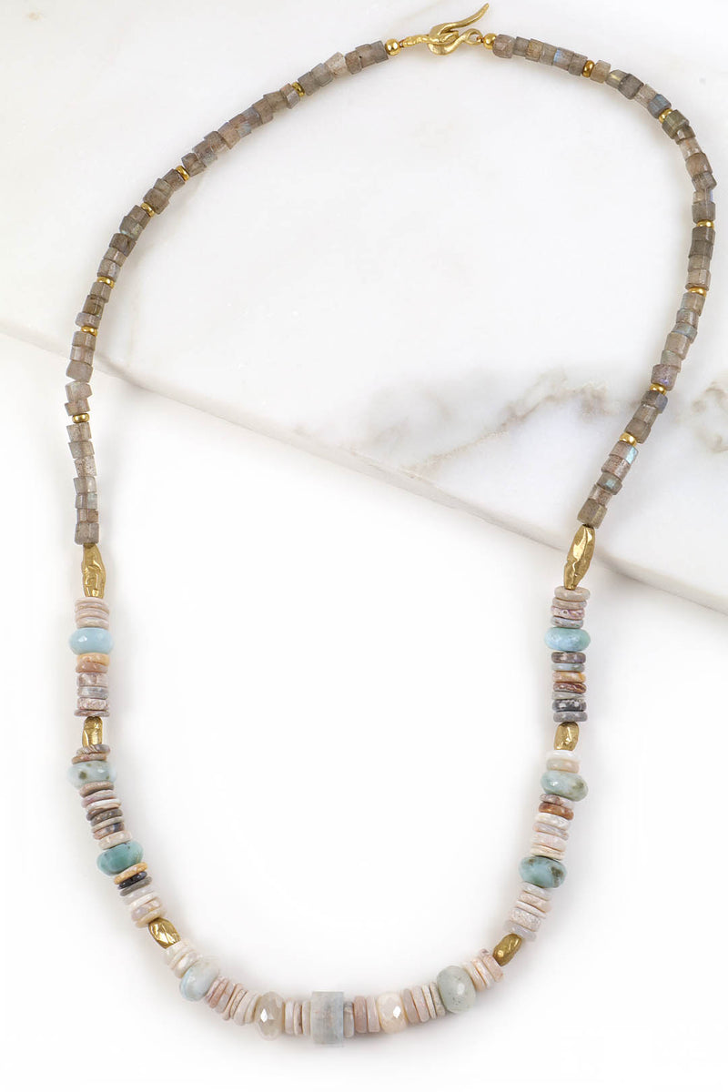 Australian Boulder Opal and Labradorite Necklace