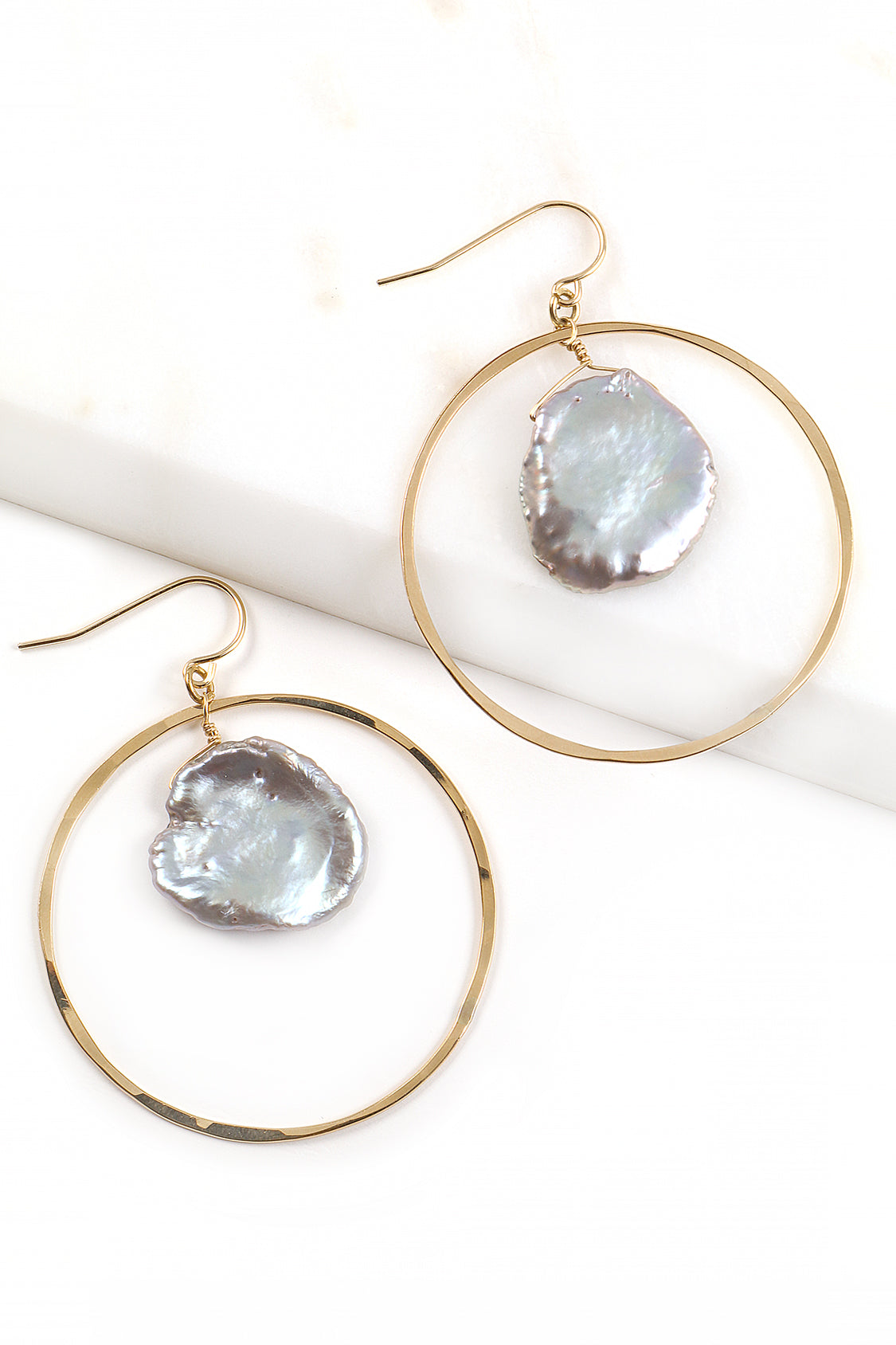 Keshi and Hammered Hoop Earrings