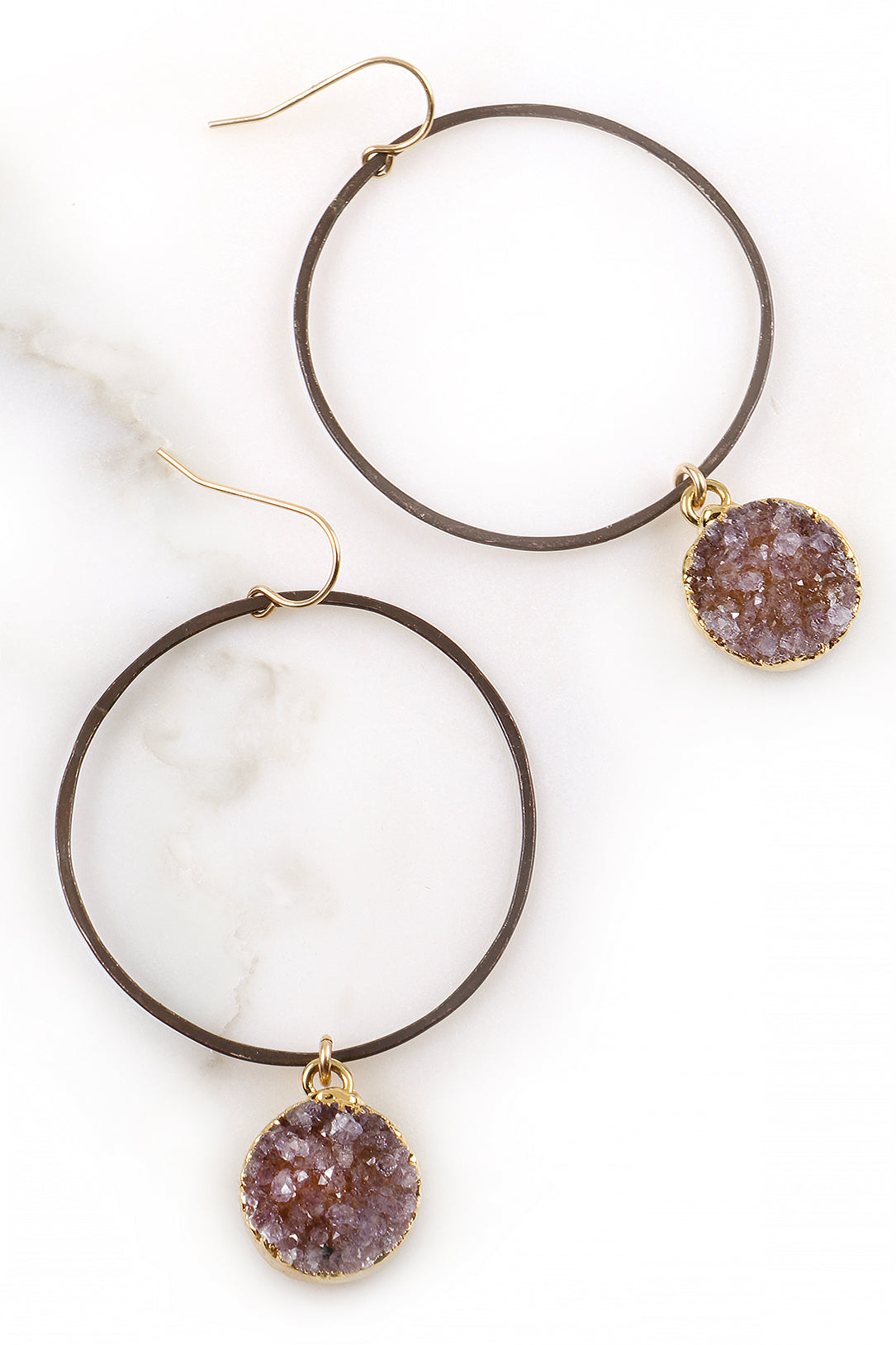 Hammered Gunmetal Hoop Earrings with Round Druzy