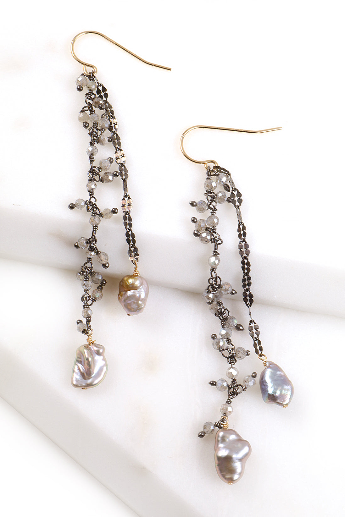 Labradorite and Pearl Cluster Earrings