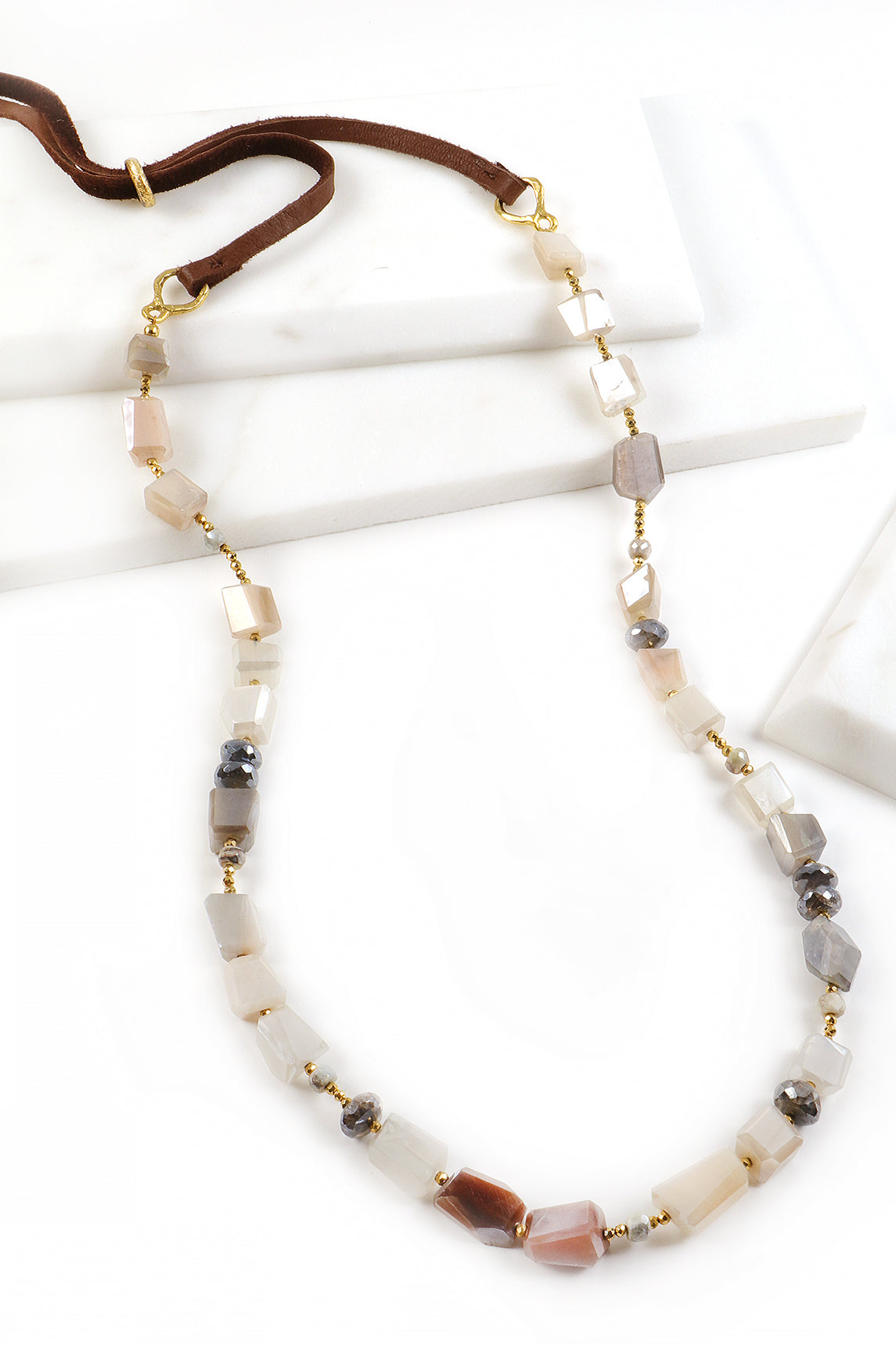 Peach Moonstone and Leather Necklace